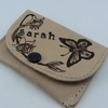 Small leather purse with name and butterfly