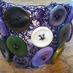 Go Go Girl Cuff - Purple Crochet Wire & Vintage Buttons
