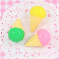 3 x LARGE 3D Ice Cream Style Embellishment Cabochons Kawaii Craft - UK SELLER