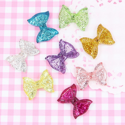 6 x Cute Sparkling Glitter Bows Cabochon Embellishments