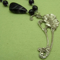 Art Nouveau Poppy with Amethyst Necklace (FFpop1)