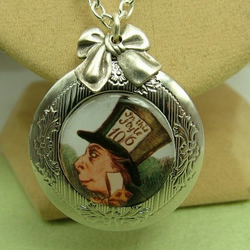 Mad as a Hatter Locket : Alice in Wonderland