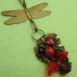 Woodland Dragonfly Necklace: Ruby