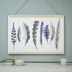 Large wild blue feather watercolour art print