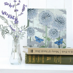 Echinops and Butterfly Card - birthday, floral, summer, Blue Adonis butterfly