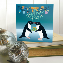 Adelie Penguins with Mistletoe Christmas Card