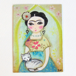 ACEO Frida Kahlo with stripey cat original painting