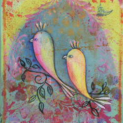 Love birds with arbour. Original Small Art Canvas