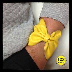 "yellow sunshine leather cuff -""BOW CUFF"""
