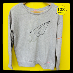 Hand embroidered sweatshirt with origami paper plane design UK 12  eur 40