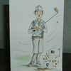 Golfer greetings card cartoon original, (ref 697)
