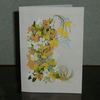 "greetings card original hand painted floral 7x5"" (ref 715)"