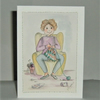 Original hand painted crochet cartoon card (ref 189)