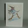 hand painted witch greetings card ( ref F 521)