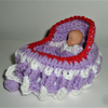 crocheted dolly cot bag with doll ( ref F527)