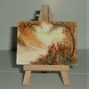 aceo art painting Sunset woodland (ref F 455)