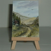 country cottage landscape aceo art painting ( ref F465)