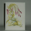 "hand painted floral greetings card original 7x5"" (ref F307)"