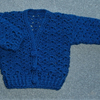 Crochet Blue lacy V neck baby cardigan (ref F 329)
