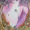 original art fantasy watercolour  painting with glitter( ref F 849)