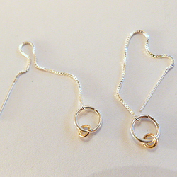 9ct gold and 925 silver threader earrings