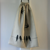 Swallows on the Line. Linen mix lined Draw string Bag, small laundry bag.