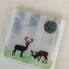 Fused Glass Snow Scene Christmas Deer Coaster