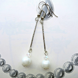 Art Deco Style Glass Pearl And Crystal Earrings Silver