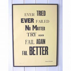 Letterpress Fail Better Poster - pale yellow/cream