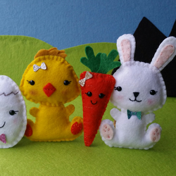 Easter Friends - Felt Pocket Pals, Kawaii Bunny Rabbit, Chick, Carrot & Egg