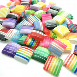 10 x Multi-Coloured Squares - Square Cabochons - 12mm