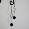 Handcrafted Black Agate Sterling Silver Earrings.