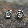 sterling silver ammonite stud earrings.