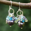 Silver Pearl earrings with peridot, apatite , iolite and labradorite dangles