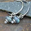 Teal Green flash Labradorite and silver earrings