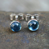 Blue topaz stud earrings sterling silver, gemstone studs