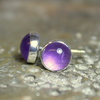 Amethyst stud earrings sterling silver, gemstone studs