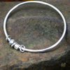 Silver and Moonstone Bangle -No Worries