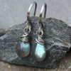 Silver Wrapped Labradorite Earrings