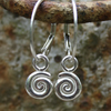 silver spiral earrings, ammonite hoops