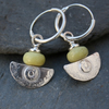 Ulu Earrings , handmade silver and Butter Jade drop earrings