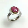 Sterling silver, 18ct gold and ruby Polki ring size UK N