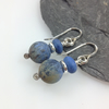 Dumortierite and sterling silver earrings