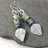 Silver and green serpentine leaf spear earrings
