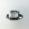 Sterling silver ring with square rutile quartz size N