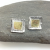 Silver and 18ct gold small square stud earrings