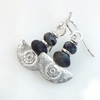 Silver and black labradorite Ulu blade earrings