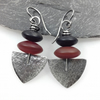 Oxidised silver and agate Shovel earrings