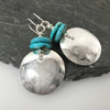 Large round silver and bright turquoise earrings
