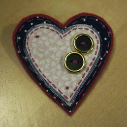 navy and pink heart